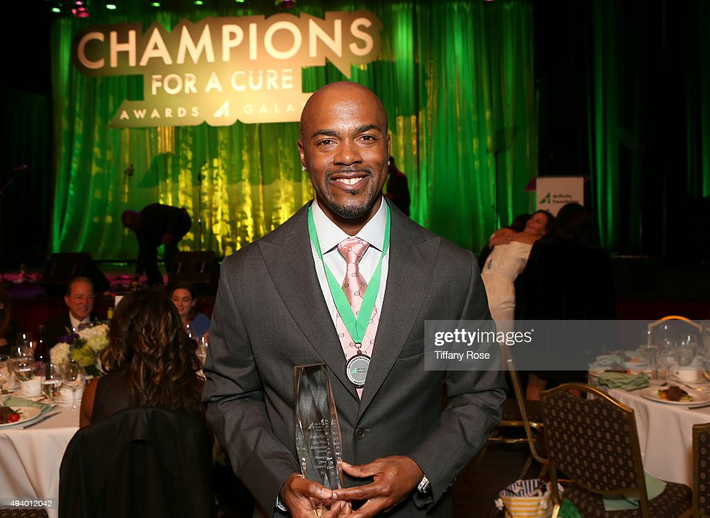 MLB player Jimmy Rollins accepts the Jane Wyman Humanitarian award at the 2015 Champions For A Cure Awards at the Hyatt Regency Century Plaza on October 23, 2015 in Century City, California.