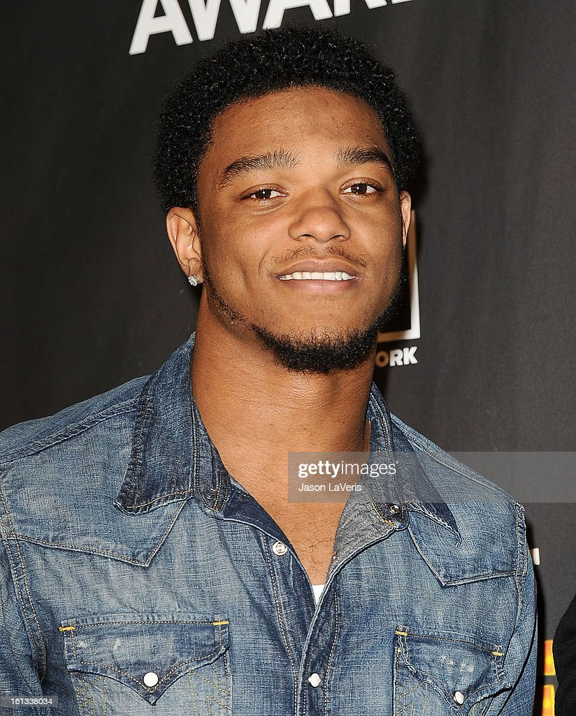 NFL player Jimmy Smith poses in the press room at Cartoon Network's 3rd annual Hall Of Game Awards at Barker Hangar on February 9, 2013 in Santa Monica, California.