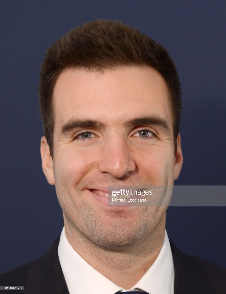 NFL player <a gi-track='captionPersonalityLinkClicked' href=/galleries/search?phrase=Joe+Flacco&family=editorial&specificpeople=4645672 ng-click='$event.stopPropagation()'>Joe Flacco</a> poses backstage at the Tommy Hilfiger Men's Fall 2013 fashion show during Mercedes-Benz Fashion Week at Park Avenue Armory on February 8, 2013 in New York City.