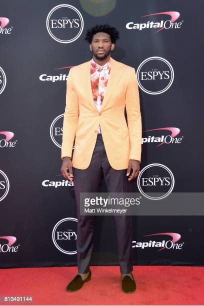 NBA player Joel Embiid attends The 2017 ESPYS at Microsoft Theater on July 12 2017 in Los Angeles California