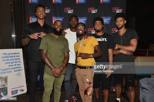NBA Player John Collins NFL player Justin HardyNFL player Julio Jonesrapper Offset NBA player Quinn Cook and NBA player Tyler Dorsey attend the the...