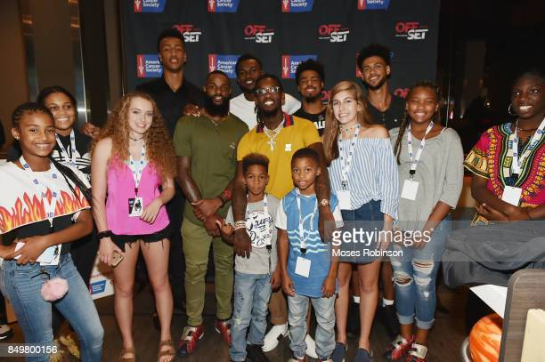 NBA Player John Collins NFL player Justin HardyNFL player Julio Jonesrapper Offset NBA player Quinn Cook and NBA player Tyler Dorsey pose for photo...