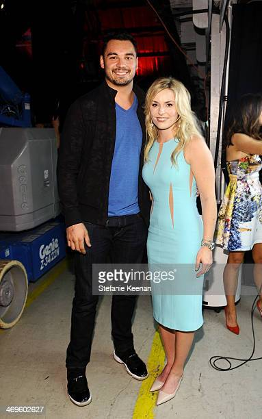 NFL player Joseph Fauria of the Detroit Lions and Olympic skier Lindsey Vonn attend Cartoon Network's fourth annual Hall of Game Awards at Barker...