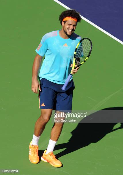 ATP player JoWilfried Tsonga on the court during the third set of a match against Fabio Fognini played on March 11 2017 during the BNP Paribas Open...