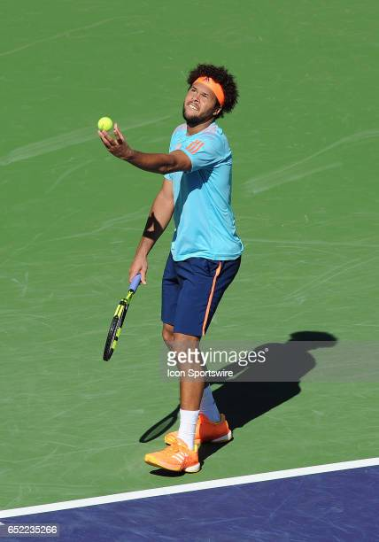 ATP player JoWilfried Tsonga serving during the third set of a match against Fabio Fognini played on March 11 2017 during the BNP Paribas Open played...