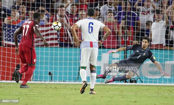 USA player Jozy Altidore easily scores a goal past Panama goalkeeper Jaime Penedo during World Cup qualifier match at Orlando City Stadium on Friday...