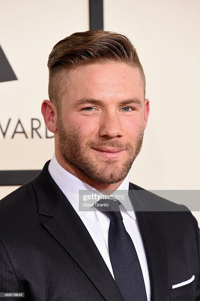 NFL player <a gi-track='captionPersonalityLinkClicked' href=/galleries/search?phrase=Julian+Edelman&family=editorial&specificpeople=4489543 ng-click='$event.stopPropagation()'>Julian Edelman</a> attends The 57th Annual GRAMMY Awards at the STAPLES Center on February 8, 2015 in Los Angeles, California.