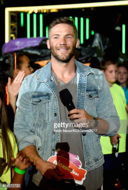 NFL player Julian Edelman speaks during Nickelodeon Kids' Choice Sports Awards 2017 at Pauley Pavilion on July 13 2017 in Los Angeles California