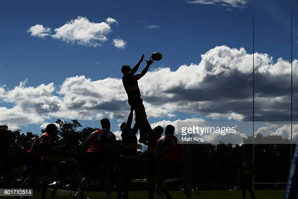 A player jumps at the lineout during the round three NRC match between the Western Sydney Rams and the Perth Spirit at Concord Oval on September 10...