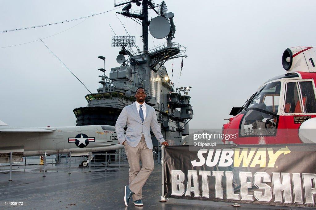 NFL player Justin Tuck attends Universal Studios 'Battleship' Screening Honoring Military Heroes at the Intrepid SeaAirSpace Museum on May 15 2012 in...