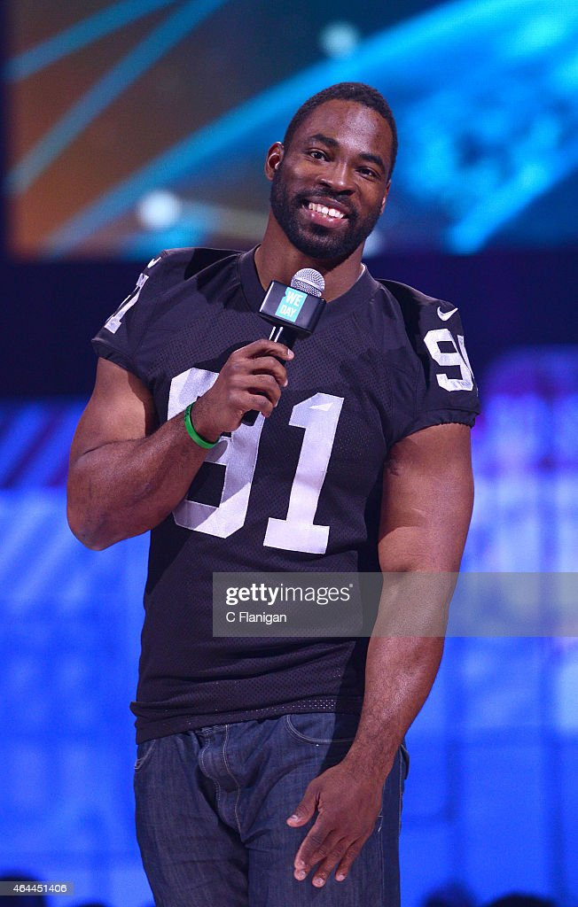 Player Justin Tuck speaks during 'We Day California' at SAP Center on February 25, 2015 in San Jose, California.