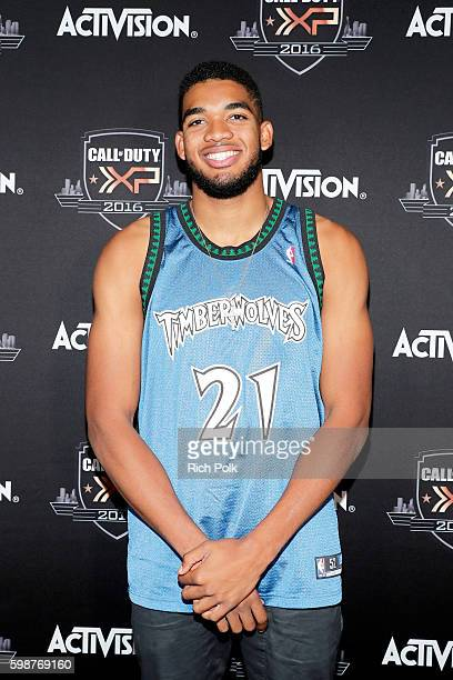 NBA player KarlAnthony Towns attends The Ultimate Fan Experience Call Of Duty XP 2016 presented by Activision at The Forum on September 2 2016 in...