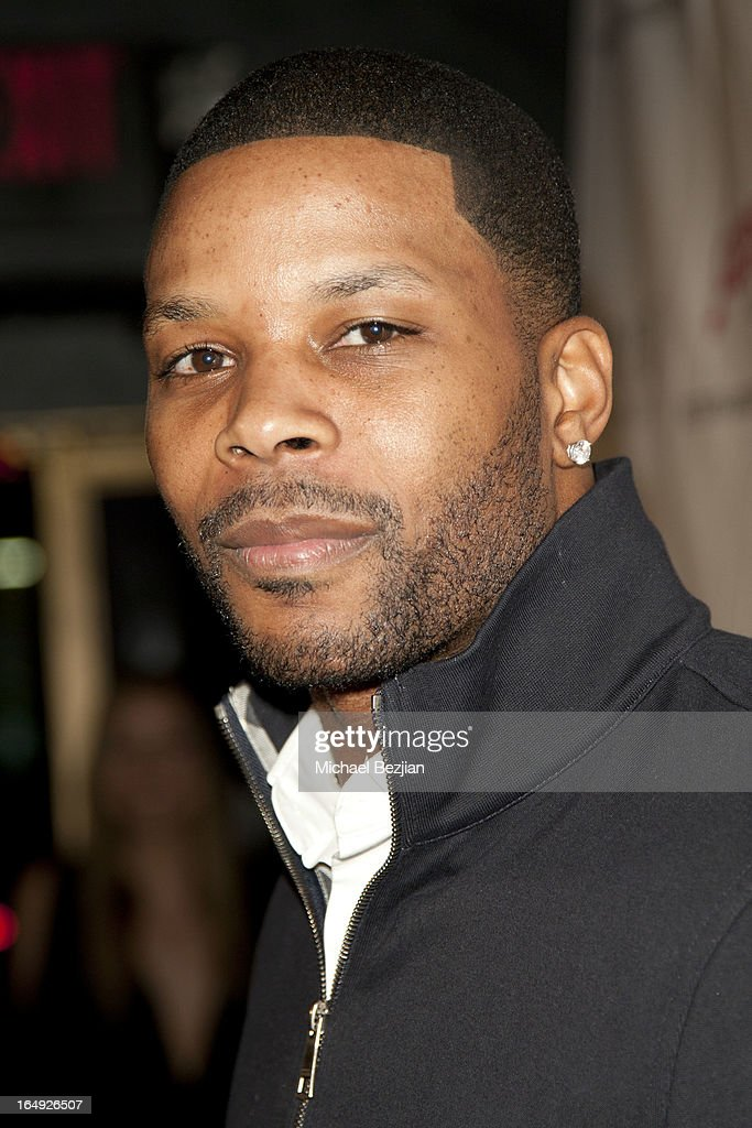 NFL player <a gi-track='captionPersonalityLinkClicked' href=/galleries/search?phrase=Kerry+Rhodes&family=editorial&specificpeople=567200 ng-click='$event.stopPropagation()'>Kerry Rhodes</a> arrives at 'Pieces(Of Ass)' Opening Night Los Angeles Performance at The Fonda Theatre on March 28, 2013 in Los Angeles, California.