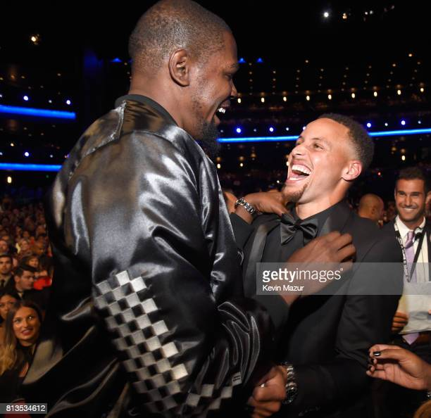 NBA player Kevin Durant and NBA player Steph Curry attend The 2017 ESPYS at Microsoft Theater on July 12 2017 in Los Angeles California