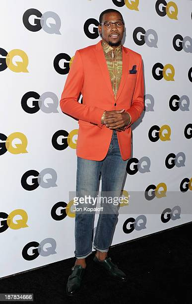 NBA player Kevin Durant arrives at GQ Celebrates The 2013 'Men Of The Year' at The Wilshire Ebell Theatre on November 12 2013 in Los Angeles...