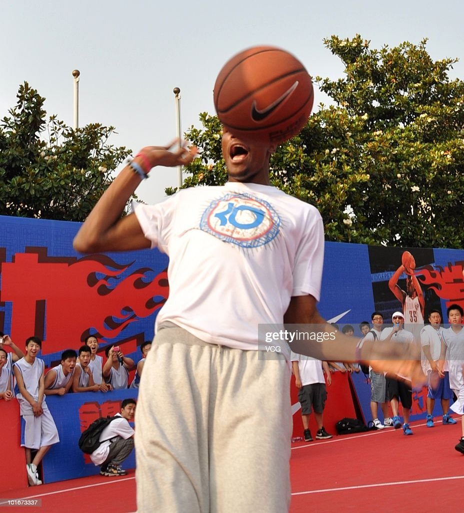 NBA player Kevin Durant of the Oklahoma City Thunder reacts during a NIKE training camp on June 6, 2010 in Shanghai, China.