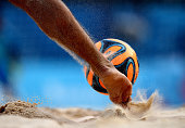 A player kicks the ball during the Men's Beach Soccer play off 5th/8th place match between Spain and Azerbaijan on day fifteen of the Baku 2015...