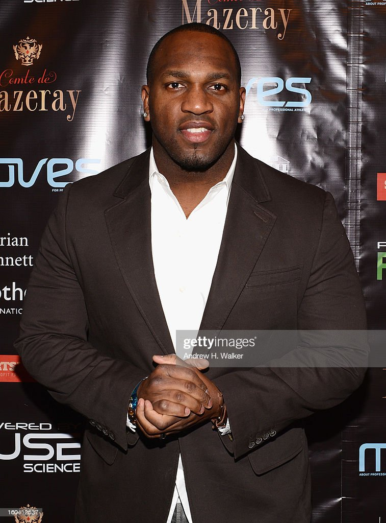 NFL player <a gi-track='captionPersonalityLinkClicked' href=/galleries/search?phrase=Kirk+Morrison&family=editorial&specificpeople=748932 ng-click='$event.stopPropagation()'>Kirk Morrison</a> attends the 6th Annual Moves Magazine Super Bowl Party at Metropolitan Nightclub on January 30, 2013 in New Orleans, Louisiana.