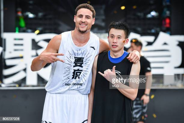 NBA player Klay Thompson of the Golden State Warriors interacts with fans during his fans meeting on July 1 2017 in Guangzhou Guangdong Province of...