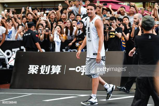 NBA player Klay Thompson of the Golden State Warriors meets fans on July 1 2017 in Guangzhou Guangdong Province of China
