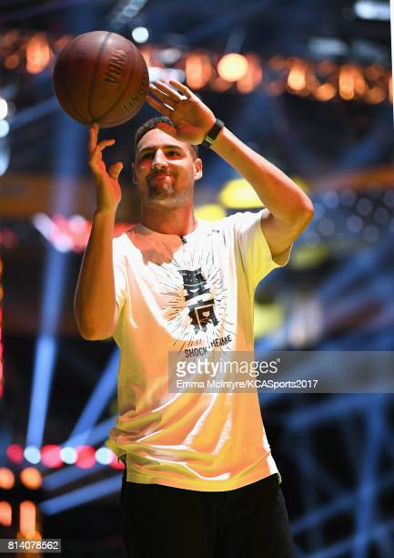 NBA player Klay Thompson participates in a competition during Nickelodeon Kids' Choice Sports Awards 2017 at Pauley Pavilion on July 13 2017 in Los...