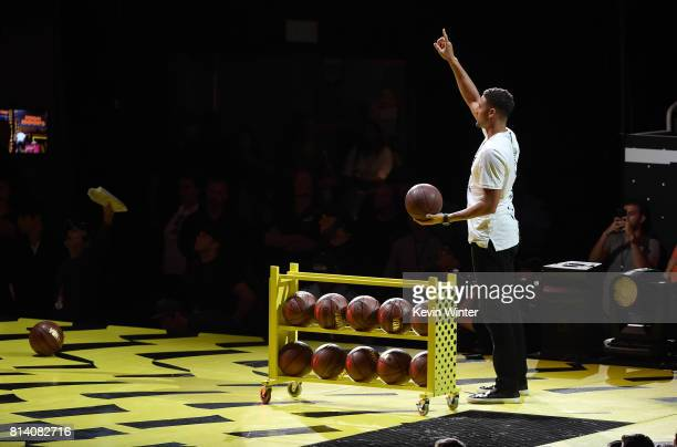 NBA player Klay Thompson participates in a competition onstage during Nickelodeon Kids' Choice Sports Awards 2017 at Pauley Pavilion on July 13 2017...