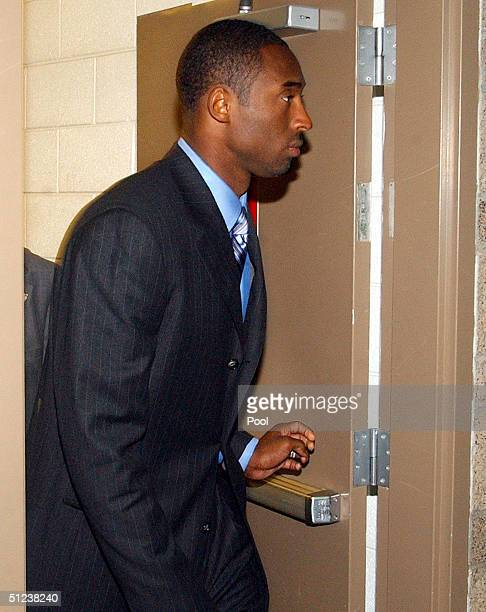NBA player Kobe Bryant arrives at Eagle County Justice Center for the second day of jury selection August 30 2004 in Eagle Colorado Approximately one...