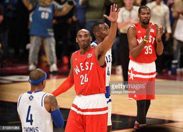 NBA player Kobe Bryant attend the 2016 NBA AllStar Game at Air Canada Centre on February 14 2016 in Toronto Canada