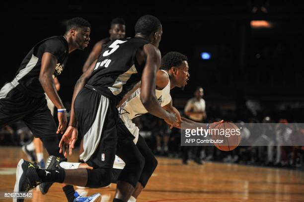 NBA player Kyle Lowry dribles the ball during the NBA Africa Game 2017 basketball match between Team Africa and Team World on August 5 2017 in...