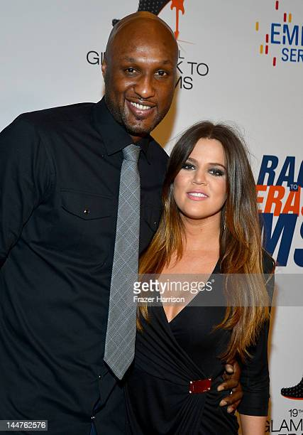 NBA player Lamar Odom and TV personality Khloe Kardashian arrive at the 19th Annual Race to Erase MS held at the Hyatt Regency Century Plaza on May...