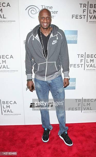 NBA player Lamar Odom attends the Tribeca/ESPN Sports Film Festival Gala Benji during the 2012 Tribeca Film Festival at BMCC Tribeca PAC on April 20...
