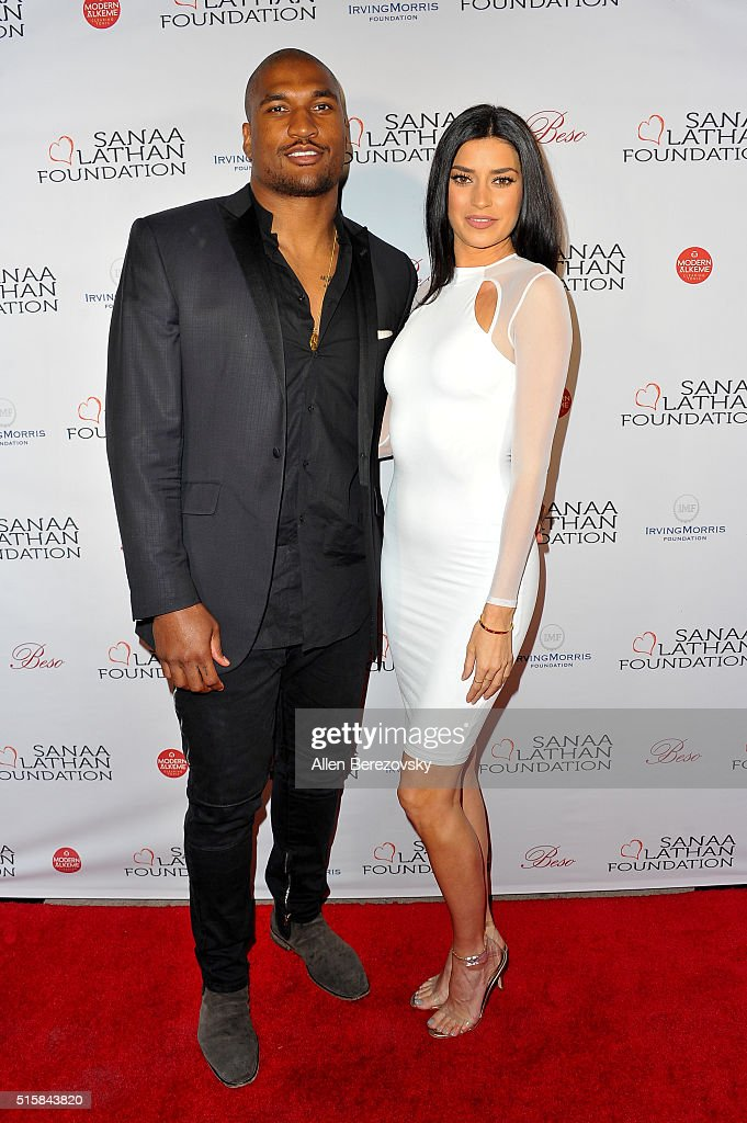 NFL player Larry English and model Nicole Williams attend a fundraising event supporting the Sanaa Lathan Foundation at Beso on March 15 2016 in...