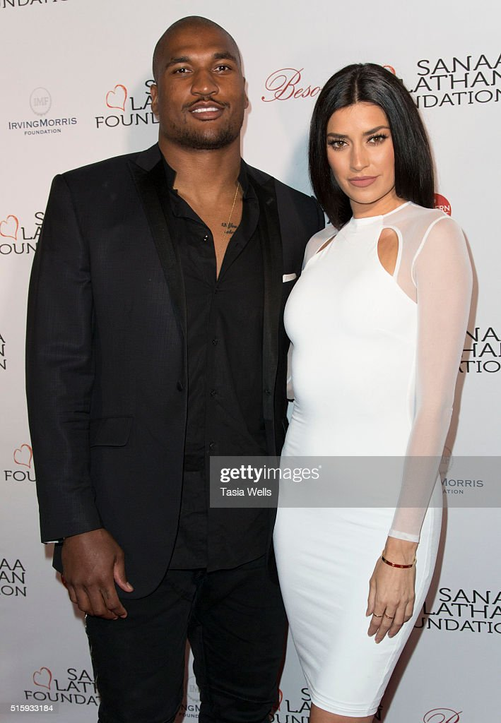 NFL player Larry English and TV personality Nicole Williams attend the Sanaa Lathan hosts event at Beso on March 15 2016 in Hollywood California