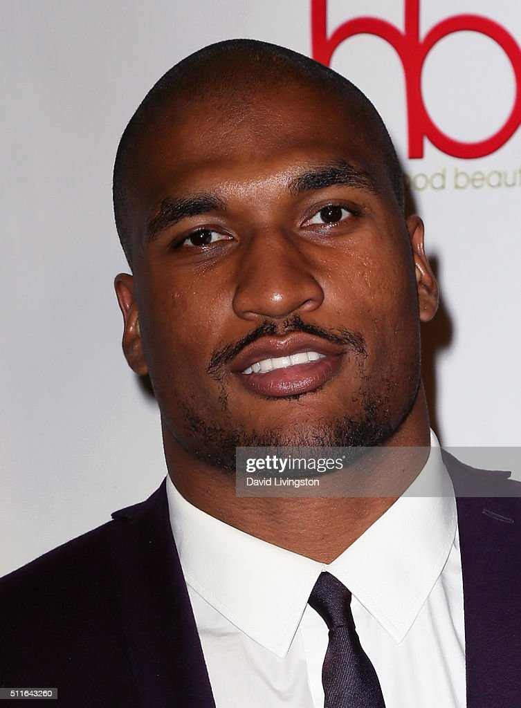 NFL player Larry English attends the 2nd Annual Hollywood Beauty Awards benefiting Children's Hospital Los Angeles at Avalon Hollywood on February 21...