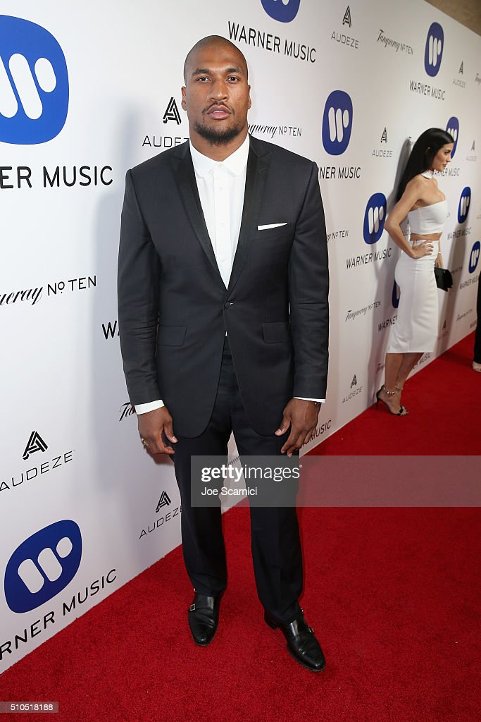 Player Larry English attends Warner Music Group's annual Grammy celebration at Milk Studios Los Angeles on February 15 2016 in Los Angeles California