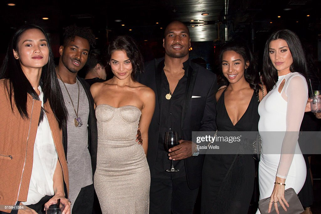 NFL player Larry English TV personality Nicole Williams and guests attend the Sanaa Lathan hosts event at Beso on March 15 2016 in Hollywood...