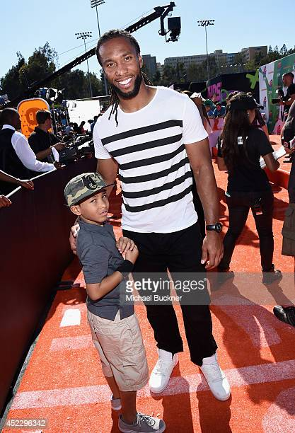 NFL player Larry Fitzgerald attends Nickelodeon Kids' Choice Sports Awards 2014 at UCLA's Pauley Pavilion on July 17 2014 in Los Angeles California