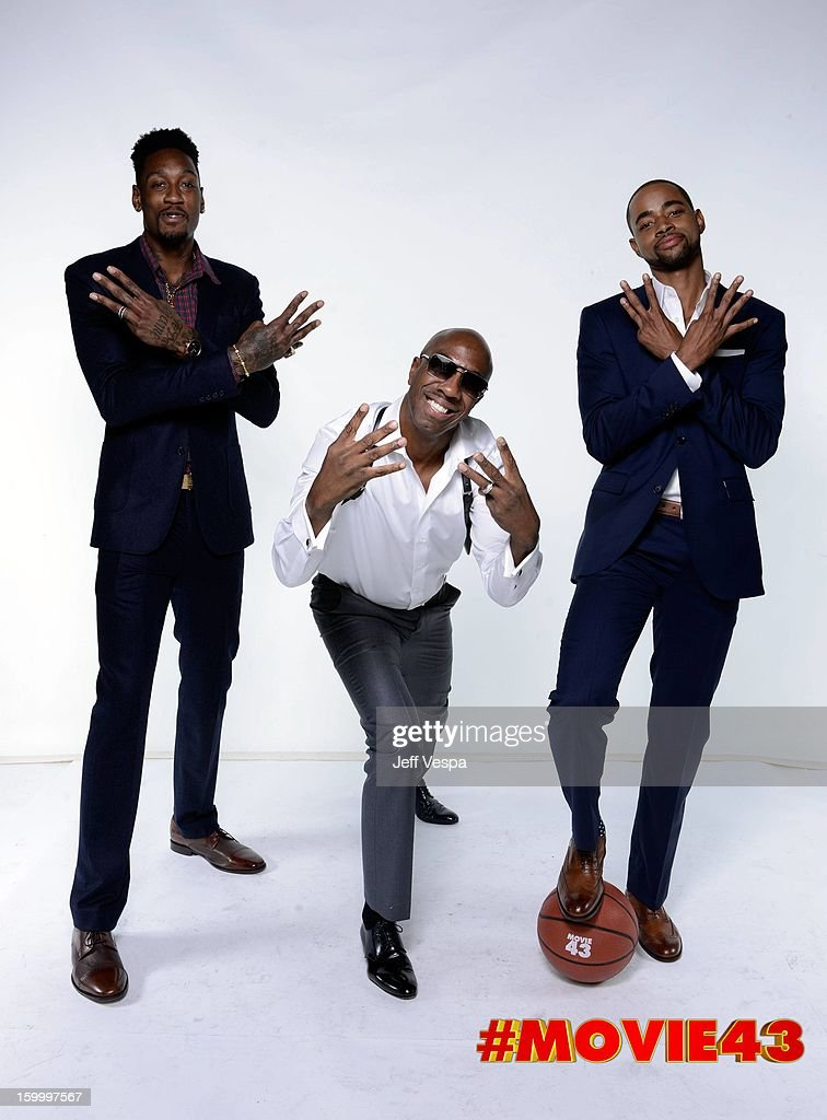 NBA player Larry Sanders, actors J. B. Smoove and Jay Ellis pose for a portrait during Relativity Media's 'Movie 43' Los Angeles premiere at TCL Chinese Theatre on January 23, 2013 in Hollywood, California.