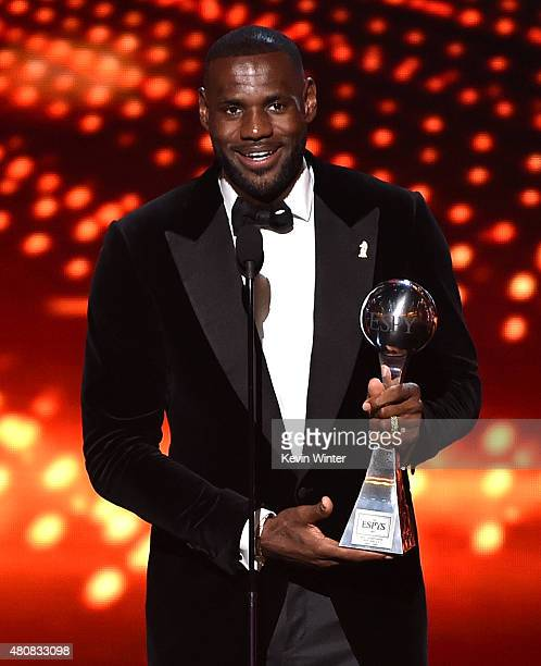 NBA player LeBron James accepts the award for Best Championship Performance onstage during The 2015 ESPYS at Microsoft Theater on July 15 2015 in Los...