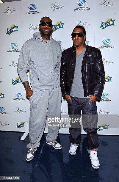 NBA player LeBron James and JayZ arrive at the 'Two Kings' Charity Event to benefit Boys Girls Club of LA on February 19 2011 in Los Angeles...