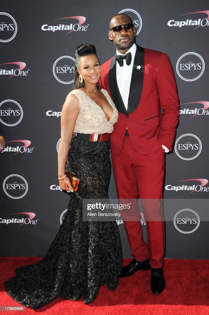 NBA player LeBron James and Savannah Brinson arrive at the 2013 ESPY Awards at Nokia Theatre L.A. Live on July 17, 2013 in Los Angeles, California.