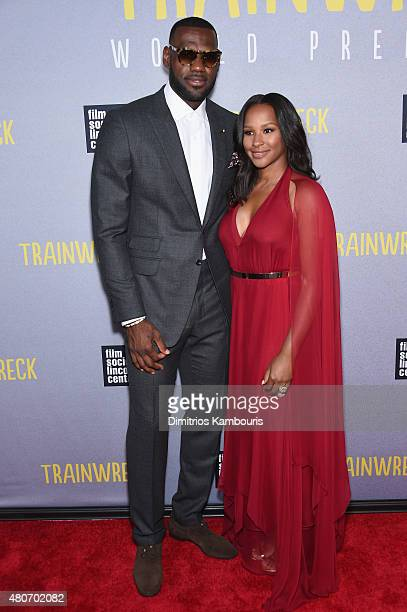 NBA player LeBron James and wife Savannah Brinson attend the 'Trainwreck' New York Premiere at Alice Tully Hall on July 14 2015 in New York City
