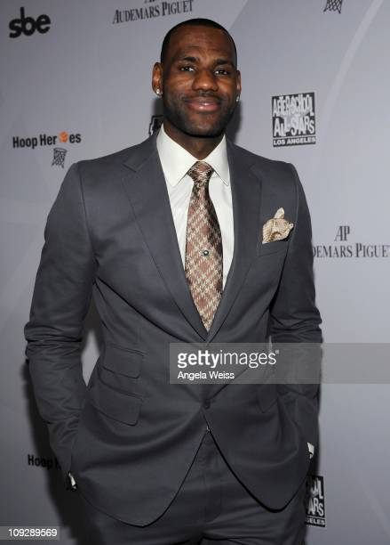 NBA player LeBron James arrives at the AfterSchool All Stars Hoop Heroes Salute launch party at Katsuya LA Live on February 18 2011 in Los Angeles...