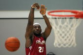 NBA player LeBron James of the Cleveland Cavaliers shoots during a training session in the leadup to their 17 October exhibition match against the...