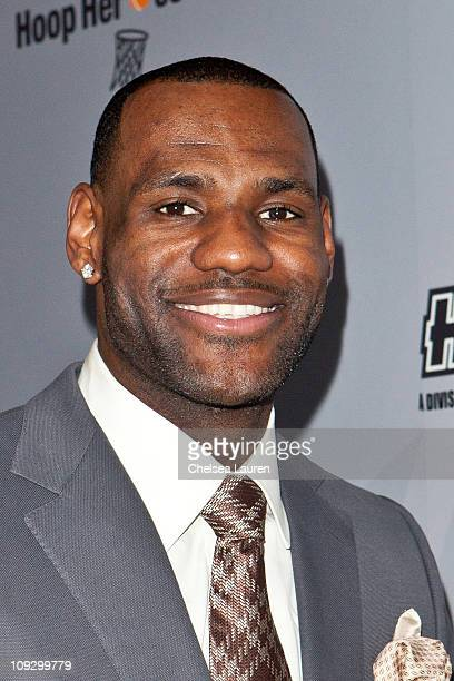 NBA player LeBron James of the Miami Heat arrives at AfterSchool AllStars Hoop Heroes Salute launch party at Katsuya on February 18 2011 in Los...