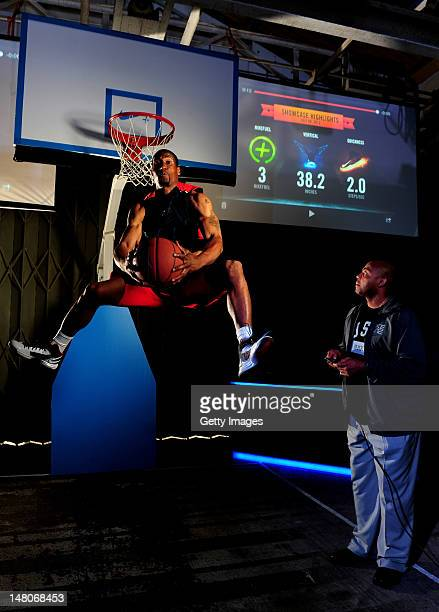 LSB player Leon Bernard is pictured dunking in Nike's latest basketball innovation the Nike Hyperdunk which measures how high how hard and how quick...