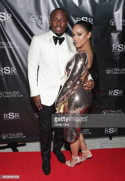 NFL player LeSean McCoy and designer Delicia Cordon arrive at the Thuzio Executive Club and Rosenhaus Sports Representation Party at Clutch Bar...