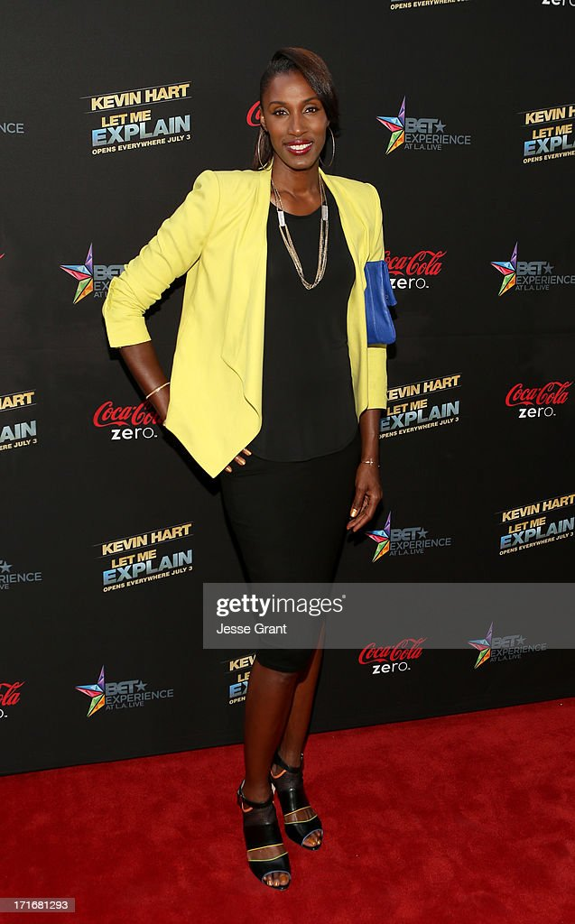 Player <a gi-track='captionPersonalityLinkClicked' href=/galleries/search?phrase=Lisa+Leslie&family=editorial&specificpeople=202228 ng-click='$event.stopPropagation()'>Lisa Leslie</a> attends Movie Premiere 'Let Me Explain' with Kevin Hart during the 2013 BET Experience at Regal Cinemas L.A. Live on June 27, 2013 in Los Angeles, California.