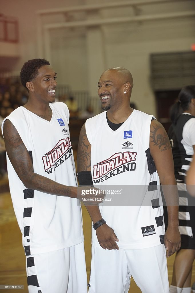 NBA Player Lou Williams and Big Tigga attend the LudaDay 2012 Weekend Celebrity Basketball Game at Forbes Arena on September 2, 2012 in Atlanta, Georgia.