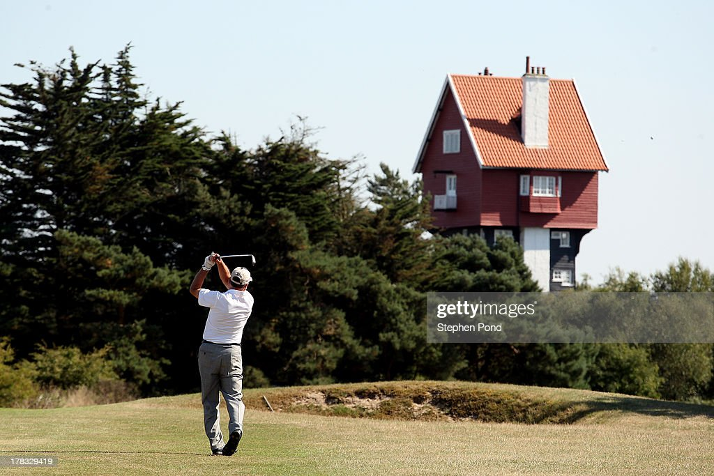 A player makes a fairway shot on the eighteenth hole during the PGA Super 60's Tournament at Thorpeness Hotel and Golf Club on August 29, 2013 in Thorpeness, England.